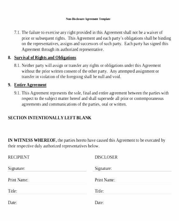 Nda Agreement Template Word Unique 12 Non Disclosure Agreement Template Canada Rreiw