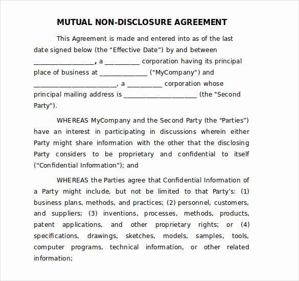 Nda Agreement Template Word Unique 19 Word Non Disclosure Agreement Templates Free Download