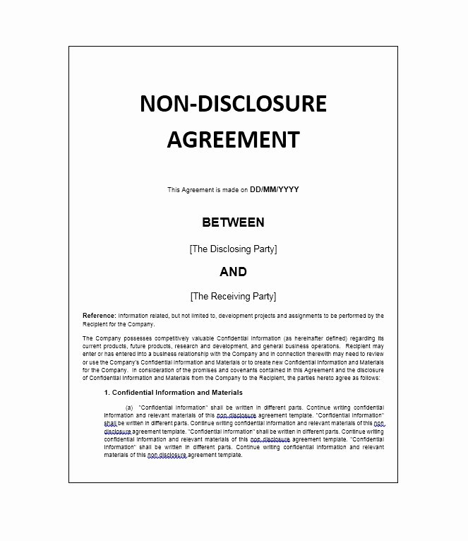 Nda Agreement Template Word Unique 40 Non Disclosure Agreement Templates Samples & forms