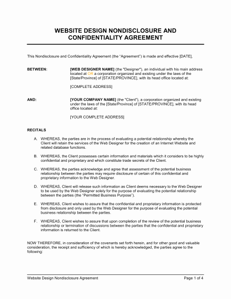 Nda Agreement Template Word Unique 6 Non Disclosure Agreement Templates Excel Pdf formats