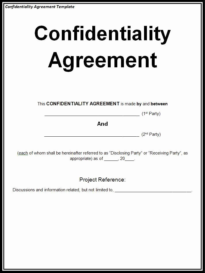 Nda Agreement Template Word Unique Confidentiality Agreement Template