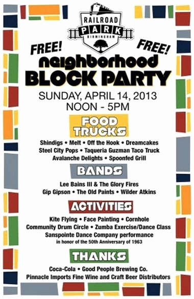 Neighborhood Block Party Flyer Template Awesome Railroad Park Planning Neighborhood Block Party for April