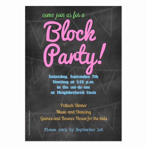 Neighborhood Block Party Flyer Template Beautiful Chalkboard Block Party Invitation Invitations & Cards On