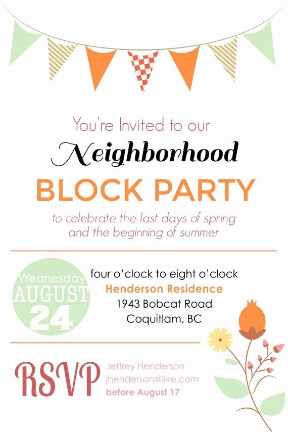 Neighborhood Block Party Flyer Template Beautiful Items Similar to Summer Block Party Backyard Bbq