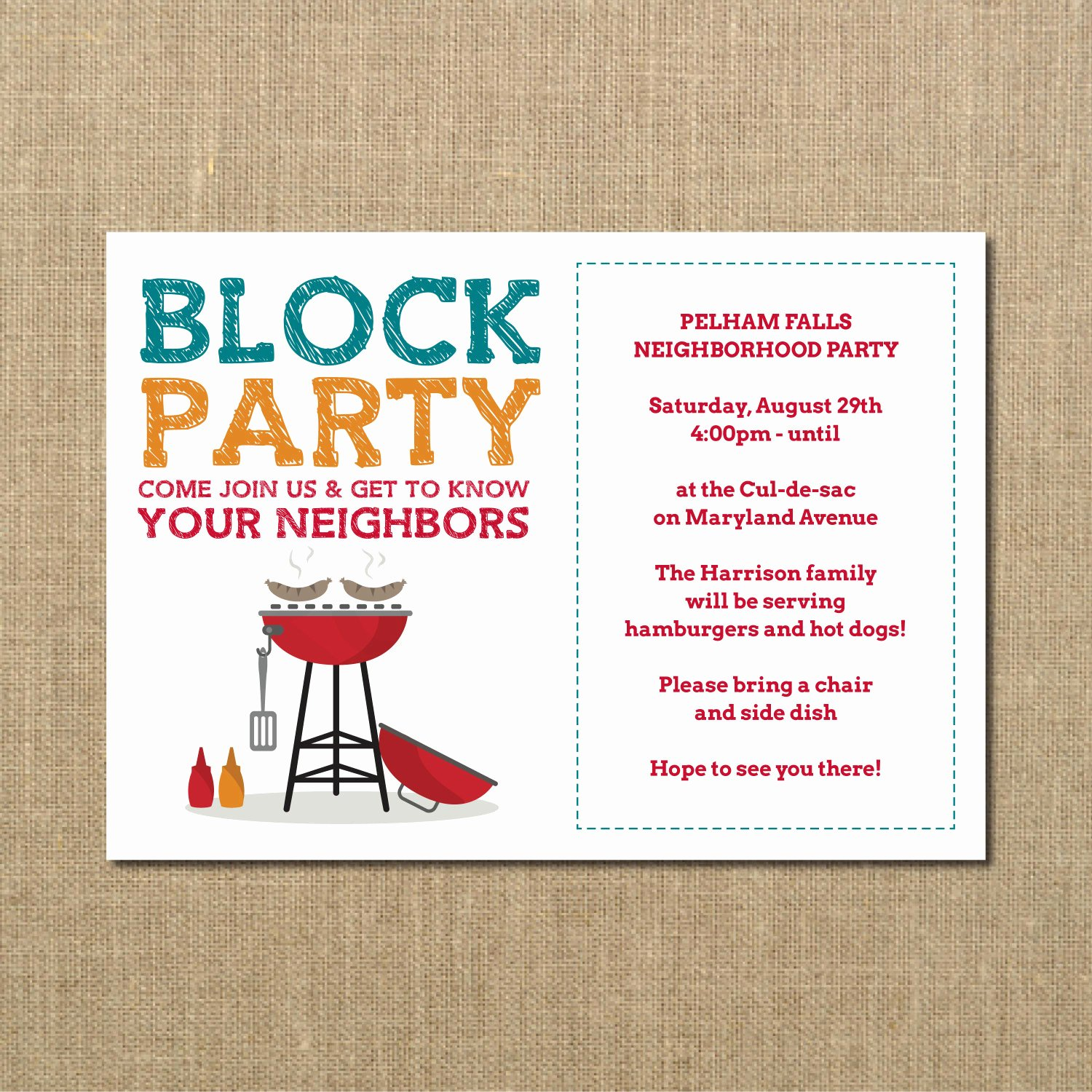 Neighborhood Block Party Flyer Template Beautiful Neighborhood Block Party Cookout Invitation Grilling Out