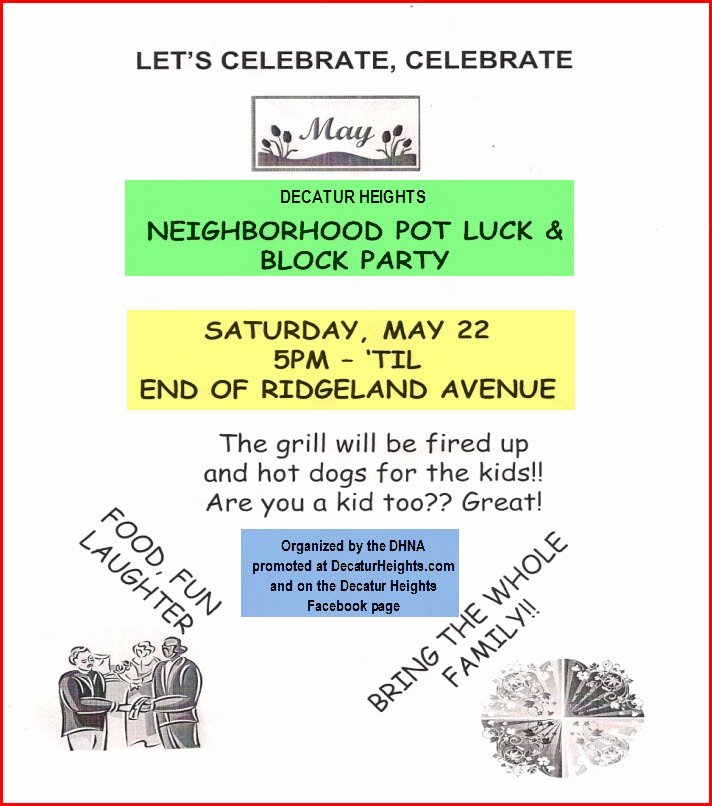 Neighborhood Block Party Flyer Template New Decatur Heights Neighborhood Decatur Ga Decatur
