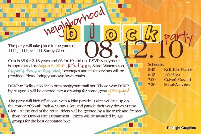 Neighborhood Block Party Flyer Template New Invite124