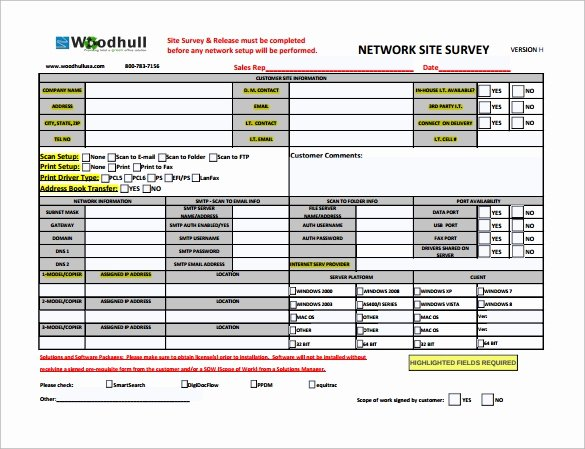 Network Infrastructure assessment Template Awesome 9 Site Survey Templates Download for Free