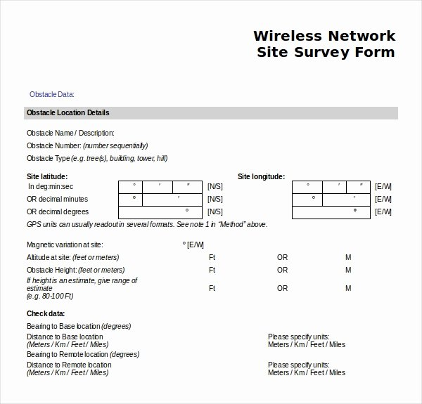 Network Infrastructure assessment Template Fresh 12 Site Survey Templates – Pdf Word