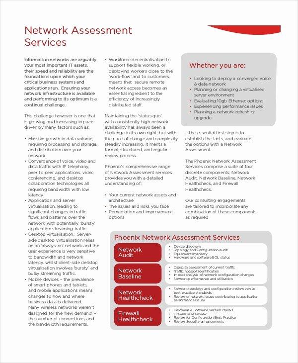Network Infrastructure assessment Template Luxury Network assessment Template 6 Free Excel Pdf Documents