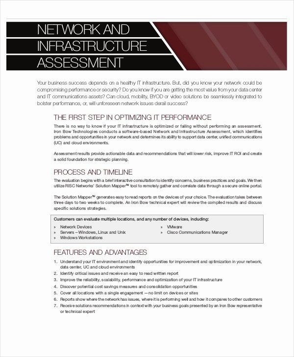 Network Infrastructure assessment Template New Network assessment Template 6 Free Excel Pdf Documents