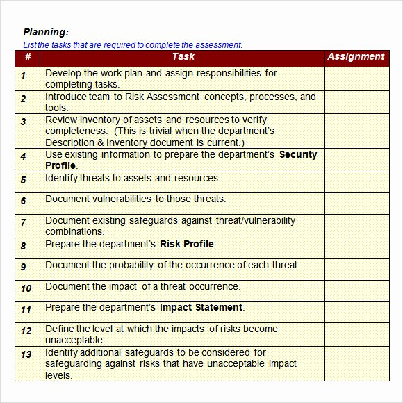 Network Infrastructure assessment Template Unique Sample It Risk assessment Template 12 Free Documents In