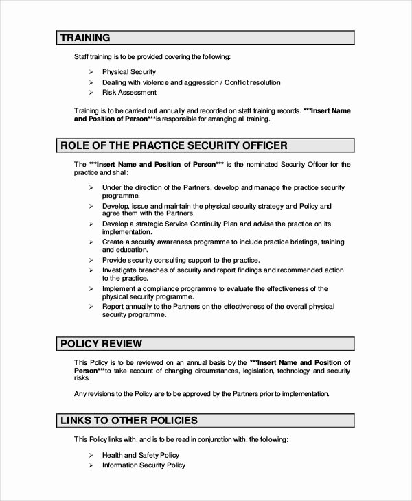 Network Security Policy Template Beautiful Security Policy Template 7 Free Word Pdf Document