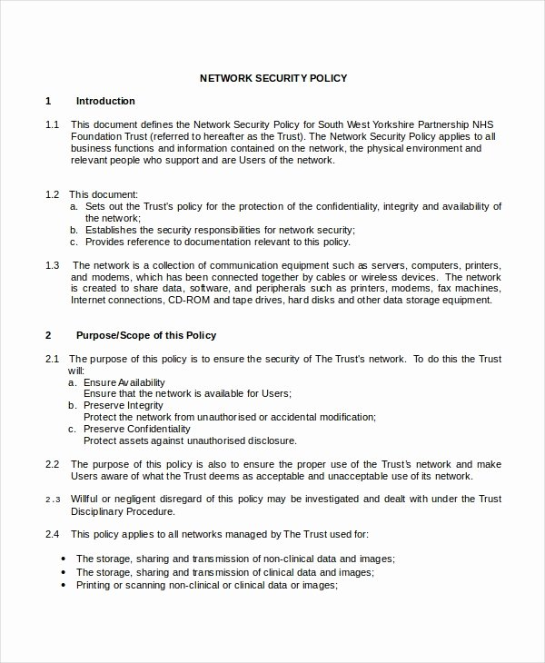 Network Security Policy Template Fresh Security Policy Template 7 Free Word Pdf Document
