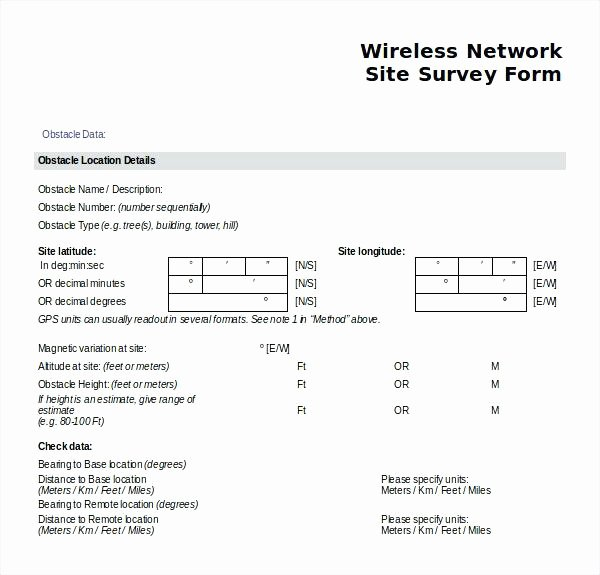 Network Site Survey Template Beautiful Example Survey form Evaluation Accurate Besides Site