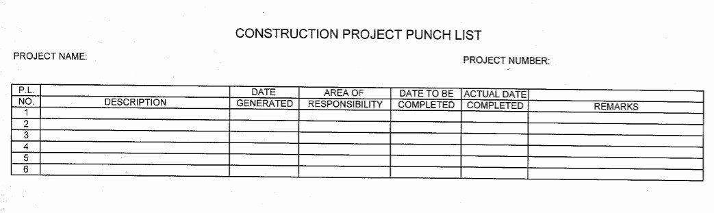 New Construction Punch List Template Best Of 7 Free Sample Construction Punch List Templates