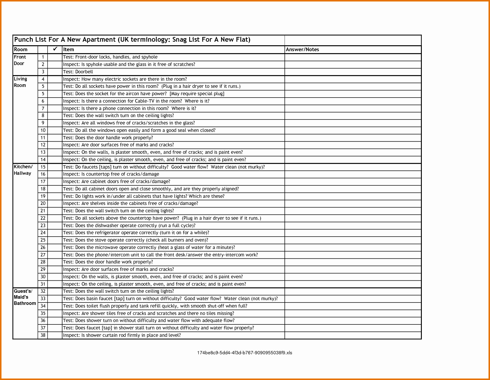 New Construction Punch List Template New 7 Punch List formreference Letters Words