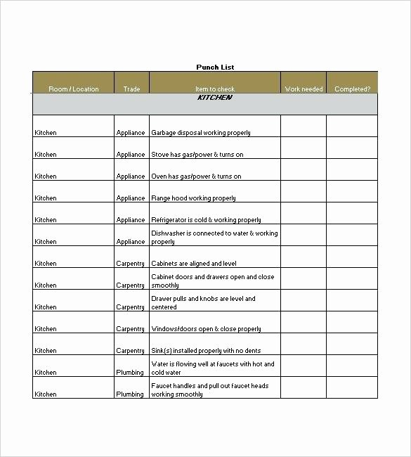 New Construction Punch List Template New Punch List Template 8 Free Sample Example format Download