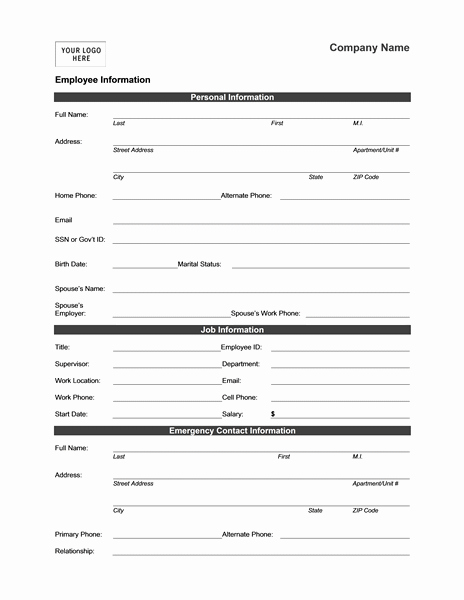 New Customer form Template Word Best Of Employee Information form Templates Mbo