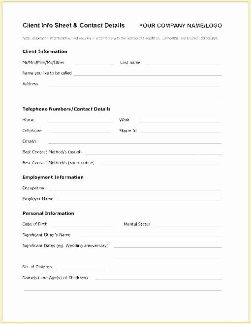 New Customer form Template Word Inspirational Client Info Sheet Salon 7 Information Template