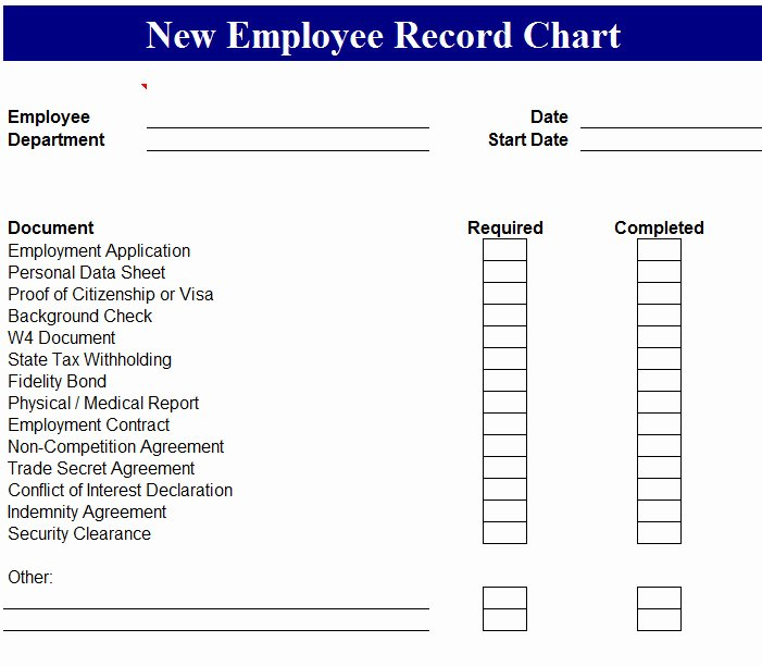 New Employee Checklist Template Awesome New Employee Chart