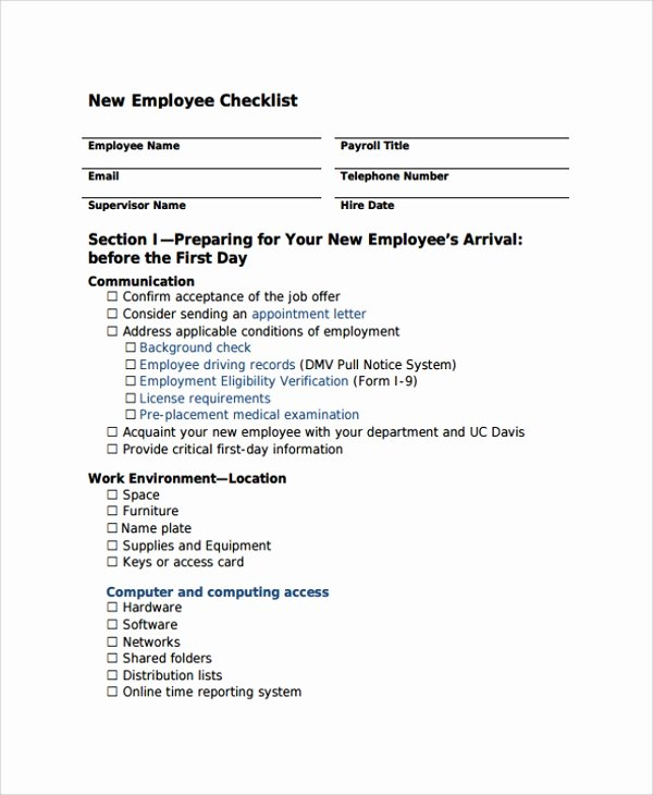 New Employee Checklist Template Fresh 16 New Employee Checklist Templates
