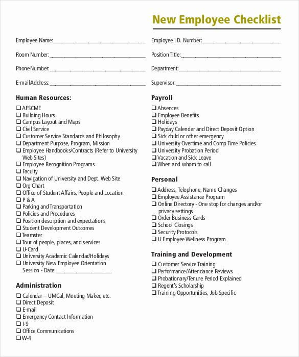 New Employee Checklist Template Inspirational 8 Boarding Checklist Samples and Templates – Pdf Word