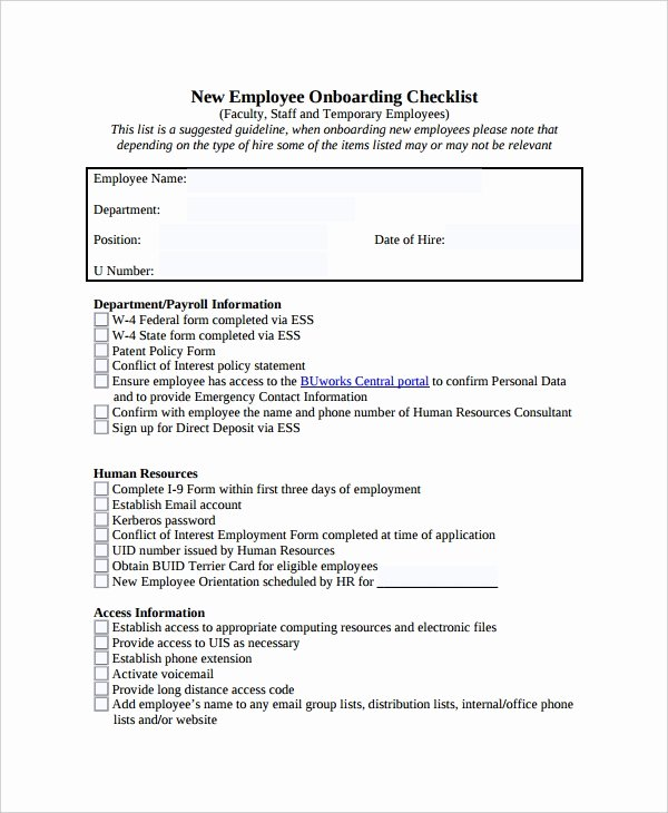 New Employee Checklist Template Luxury 35 Checklist Templates Free Sample Example format