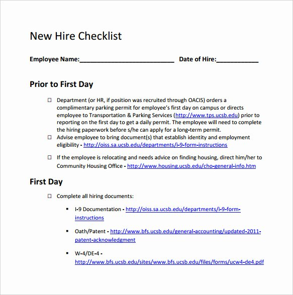 New Employee Checklist Template New 13 New Hire Checklist Samples