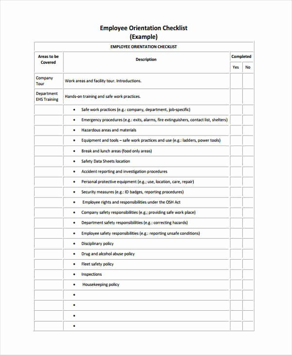 New Employee orientation Checklist Template Best Of Employee Checklist Templates 9 Free Samples Examples