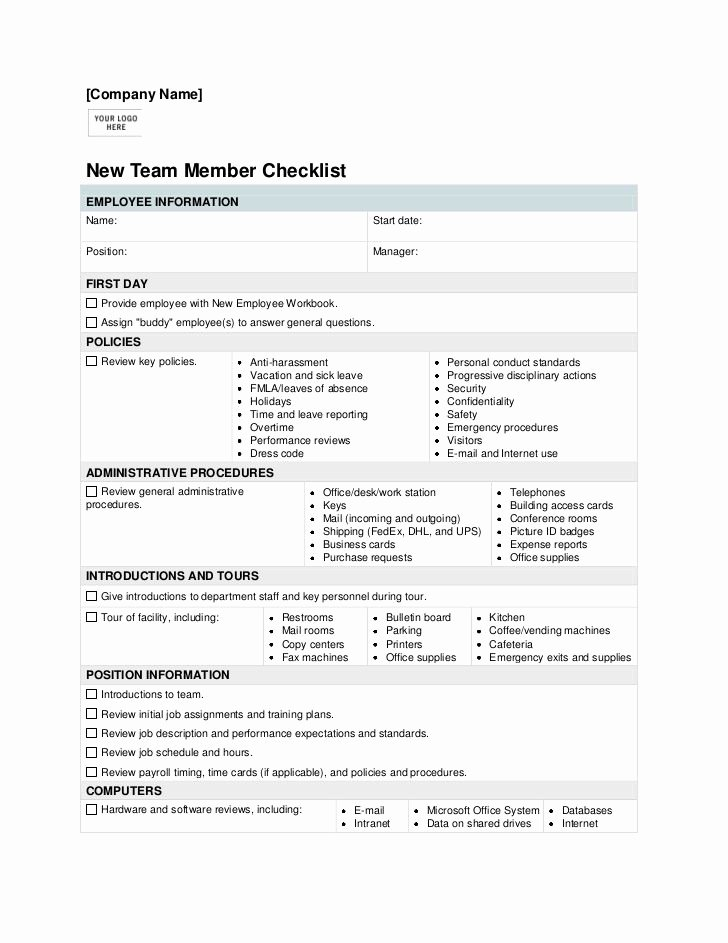New Employee orientation Checklist Template Best Of New Employee orientation Checklist Template