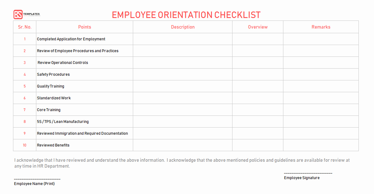 New Employee orientation Checklist Template Elegant New Employee orientation Checklist – Word Excel