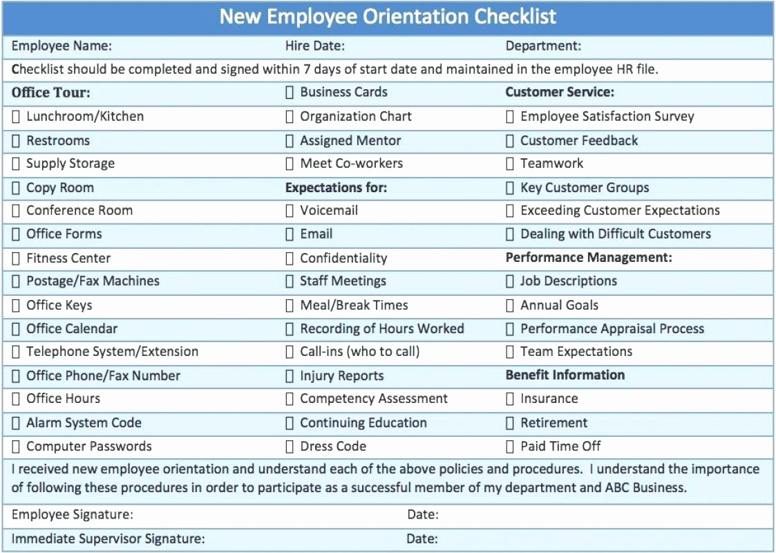 New Employee orientation Checklist Template Elegant Template Employee orientation Checklist Template