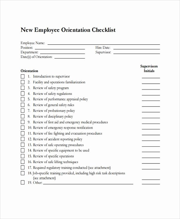 New Employee orientation Checklist Template Fresh 16 New Employee Checklist Templates