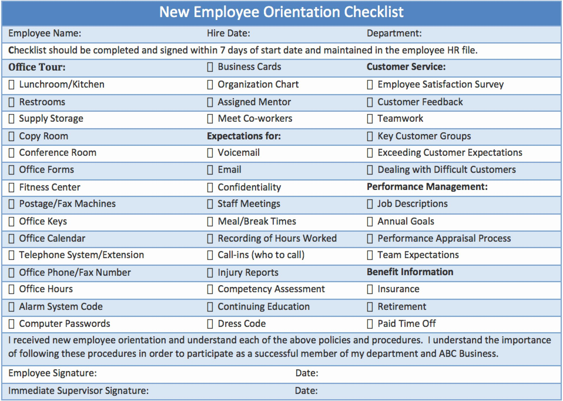 New Employee orientation Checklist Template Fresh Checklist New Employee orientation Download Template Ml