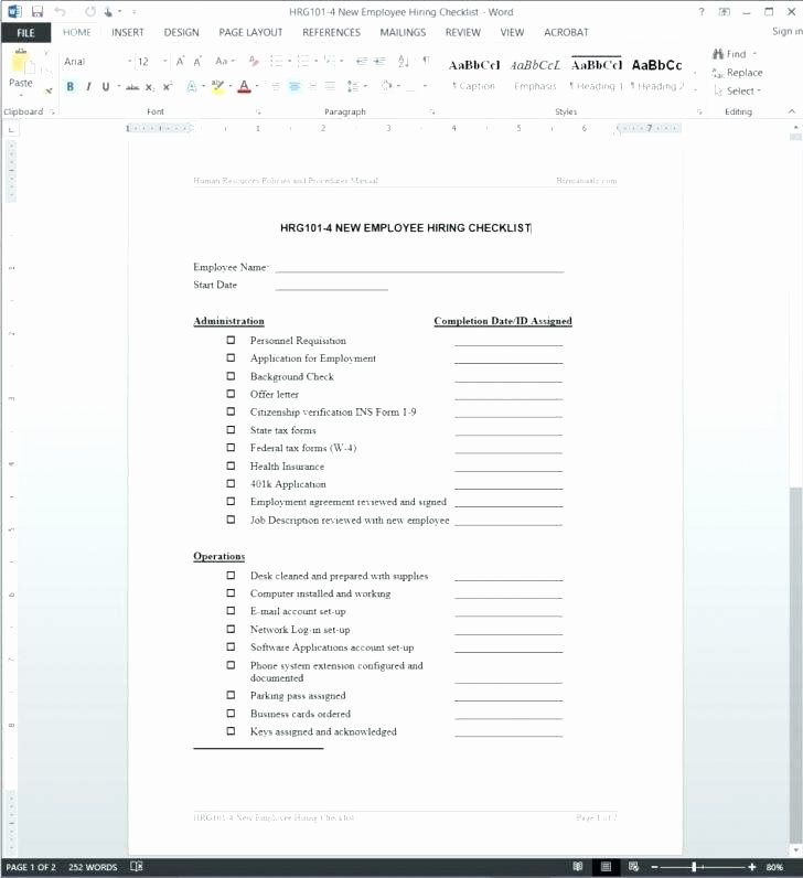 New Employee orientation Checklist Template Lovely New Hire Checklist Template Employee orientation Safety