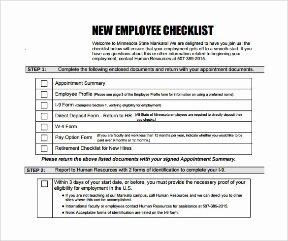 New Employee orientation Checklist Template Unique Sample New Hire Checklist Template 11 Documents In Pdf
