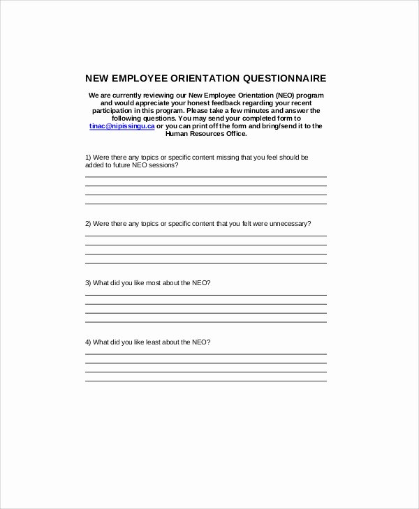 New Employee orientation Template New 7 Sample orientation Feedback forms