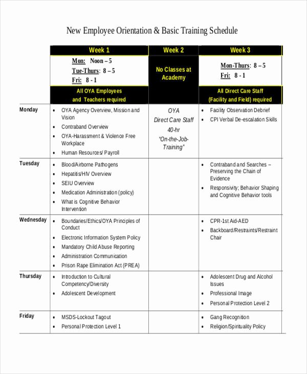New Employee Training Plan Template Elegant 13 Employee Training Schedule Template Free Sample