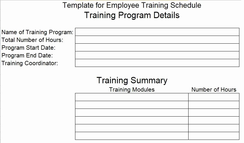 New Employee Training Plan Template New Employee Training Schedule Template