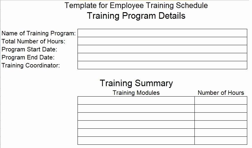 New Employee Training Plan Template New Employee Training Schedule Template
