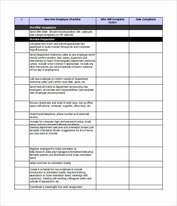 New Hire Checklist Template Beautiful New Hire Checklist Templates – 16 Free Word Excel Pdf