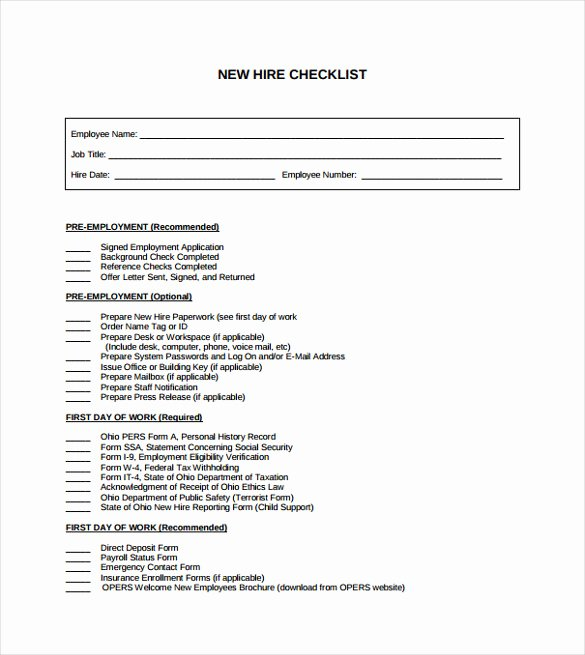 New Hire Checklist Template Beautiful Sample New Hire Checklist Template 11 Documents In Pdf