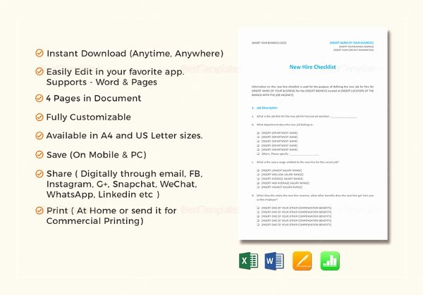 New Hire Checklist Template Best Of Boarding Checklist Template – 15 Free Word Excel Pdf