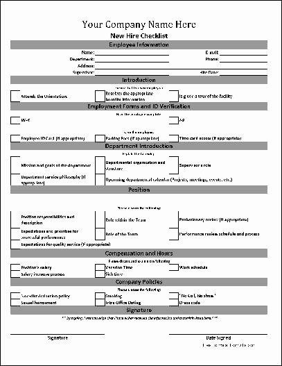 New Hire Checklist Template Best Of Free Personalized New Hire Checklist From formville