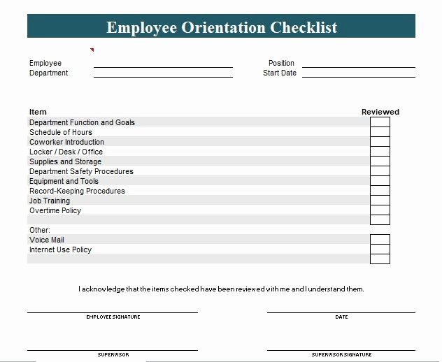 New Hire Checklist Template Excel Beautiful New Employee orientation Checklist Template Word and Excel
