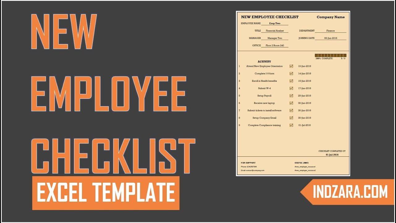 New Hire Checklist Template Excel Fresh New Employee Checklist Free Excel Template tour