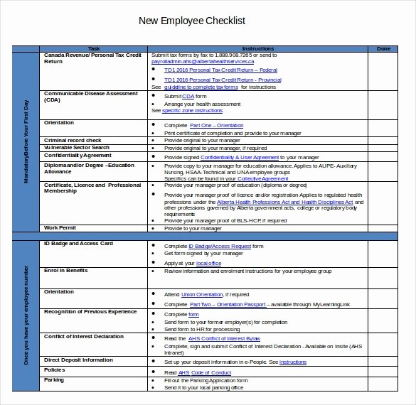 New Hire Checklist Template Excel Fresh New Hire Checklist Templates – 16 Free Word Excel Pdf