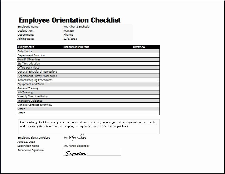 New Hire Checklist Template Excel Inspirational Employee orientation Checklist Template