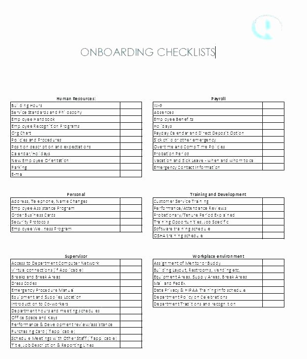 New Hire Checklist Template Excel Luxury Project Boarding Template Excel New Employee Weekly